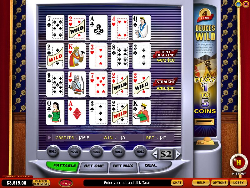 4 Line Deuces Wild Video Poker